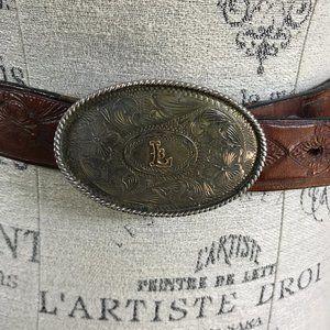 Vintage Sterling Silver Mex Monogram Belt Buckle
